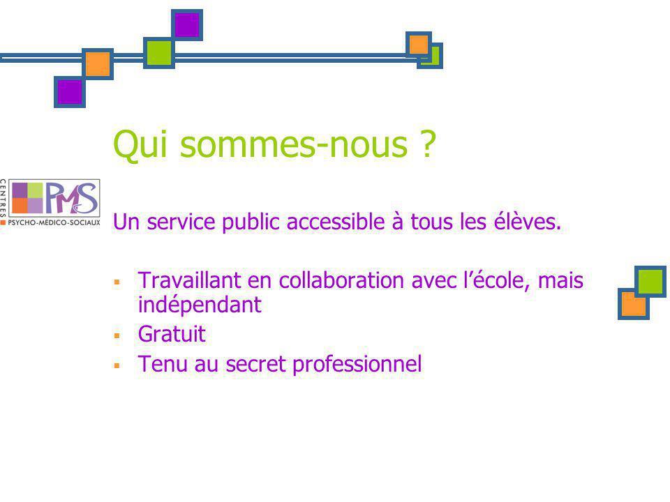Qui sommes-nous . Un service public accessible à tous les élèves.
