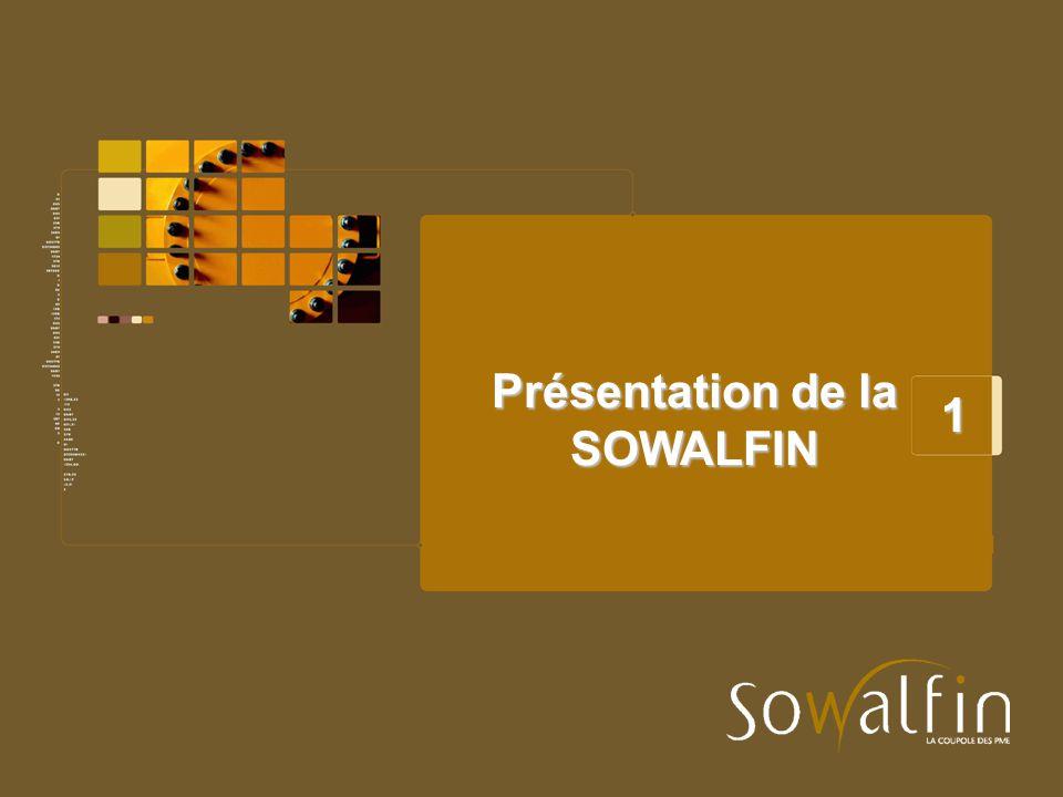 Statuts et mission de la SOWALFIN La Société wallonne de financement et de garantie des petites et moyennes entreprises, SOWALFIN SA, a été créée par le Décret du 11 juillet 2002 qui en a organisé le statut.
