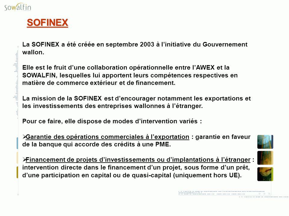 SOFINEX La SOFINEX a été créée en septembre 2003 à linitiative du Gouvernement wallon. Elle est le fruit dune collaboration opérationnelle entre lAWEX
