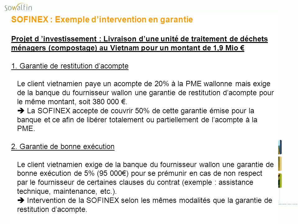 SOFINEX : Exemple dintervention en garantie Projet d investissement : Livraison dune unité de traitement de déchets ménagers (compostage) au Vietnam p