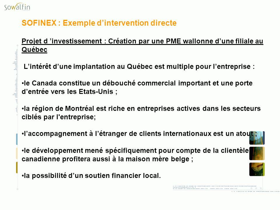 SOFINEX : Exemple dintervention directe Projet d investissement : Création par une PME wallonne dune filiale au Québec Lintérêt dune implantation au Q
