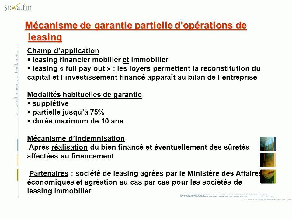 Mécanisme de garantie partielle dopérations de leasing Champ dapplication leasing financier mobilier et immobilier leasing « full pay out » : les loye