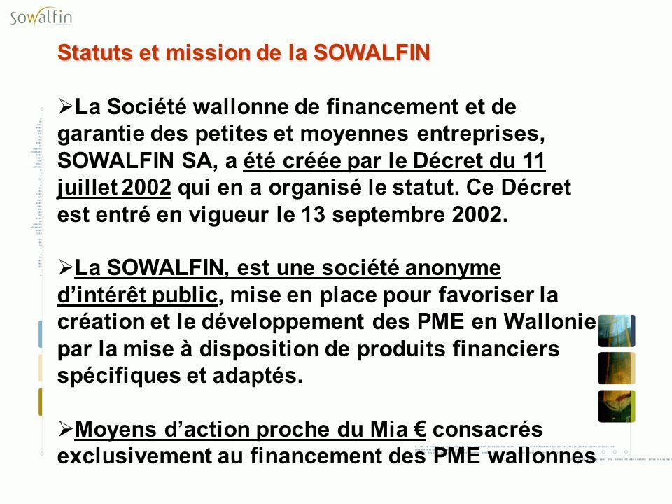 Statuts et mission de la SOWALFIN La Société wallonne de financement et de garantie des petites et moyennes entreprises, SOWALFIN SA, a été créée par