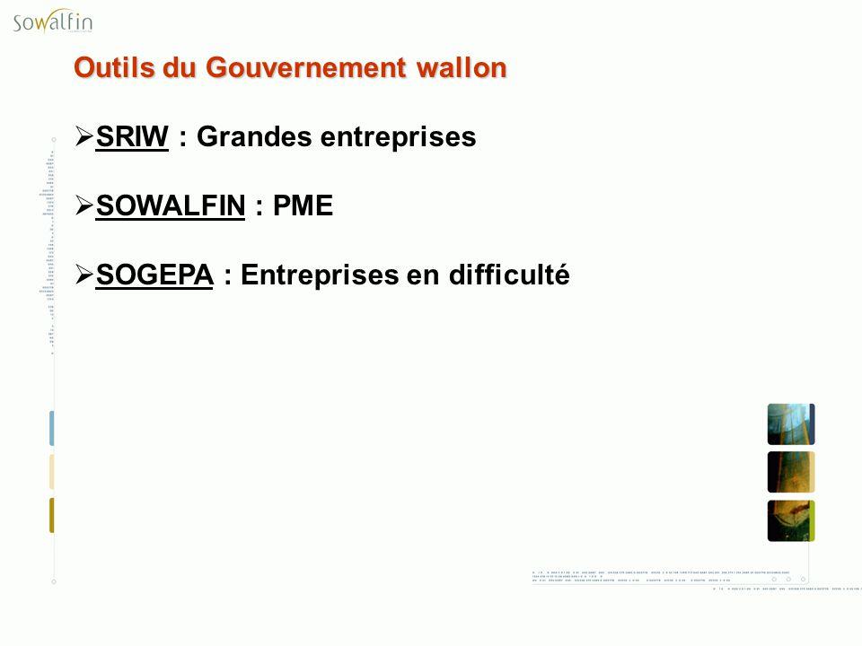 Outils du Gouvernement wallon SRIW : Grandes entreprises SOWALFIN : PME SOGEPA : Entreprises en difficulté