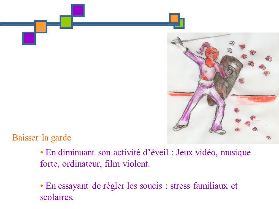 Baisser la garde En diminuant son activité déveil : Jeux vidéo, musique forte, ordinateur, film violent. En essayant de régler les soucis : stress fam