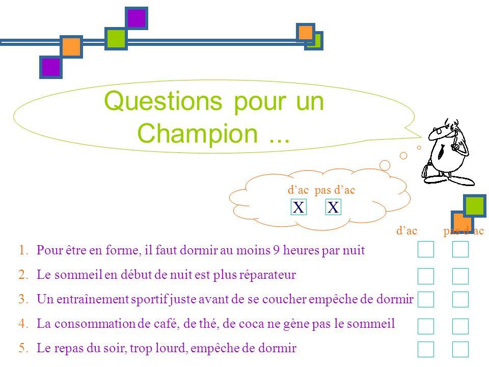 Questions pour un Champion... 1.Pour être en forme, il faut dormir au moins 9 heures par nuit 2.Le sommeil en début de nuit est plus réparateur 3.Un e