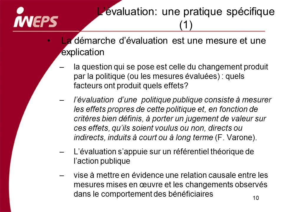 Lévaluation: une pratique spécifique (1) La démarche dévaluation est une mesure et une explication –la question qui se pose est celle du changement pr