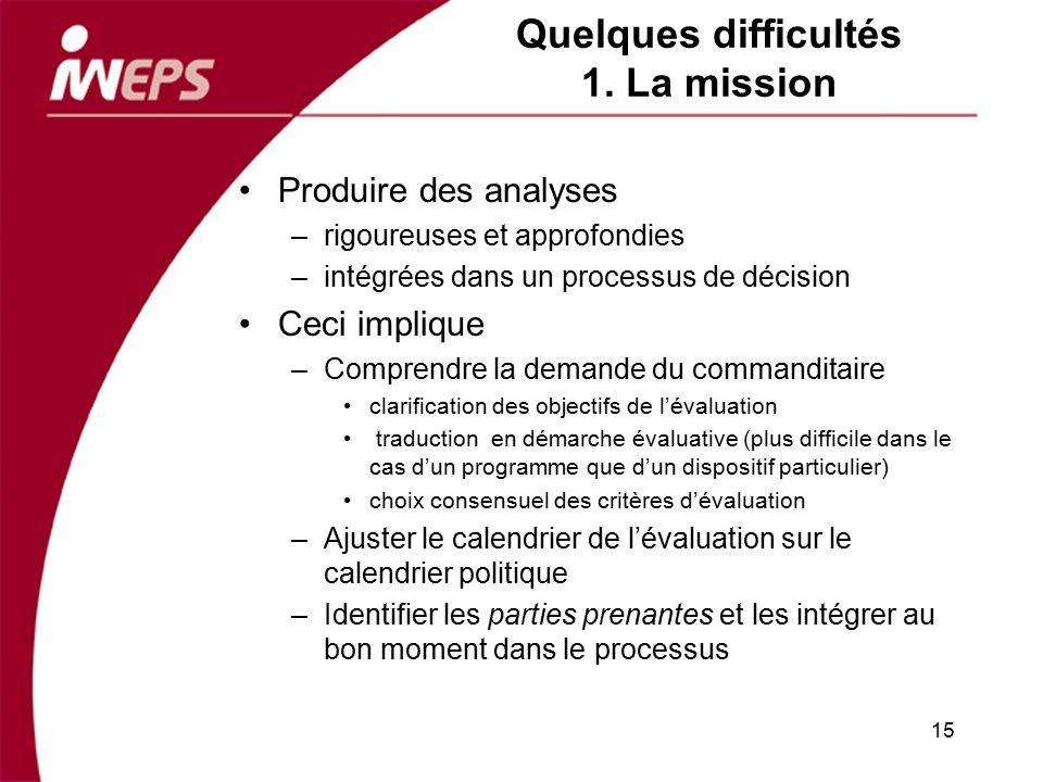 Quelques difficultés 1. La mission Produire des analyses –rigoureuses et approfondies –intégrées dans un processus de décision Ceci implique –Comprend