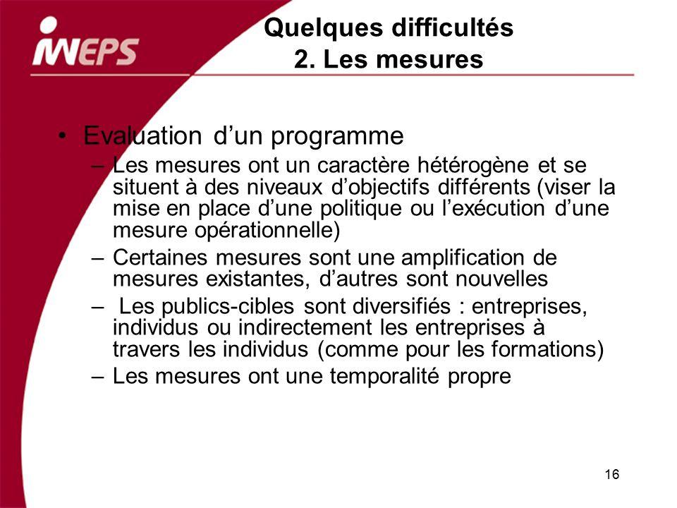 Quelques difficultés 2. Les mesures Evaluation dun programme –Les mesures ont un caractère hétérogène et se situent à des niveaux dobjectifs différent