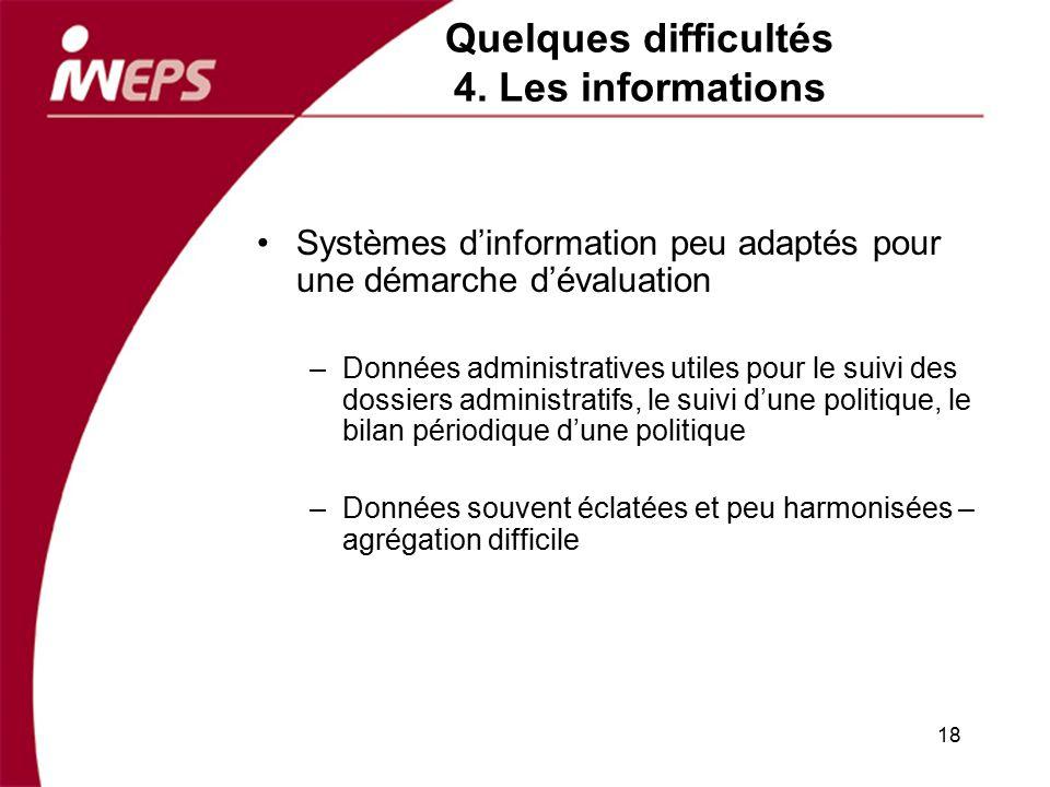 Quelques difficultés 4. Les informations Systèmes dinformation peu adaptés pour une démarche dévaluation –Données administratives utiles pour le suivi