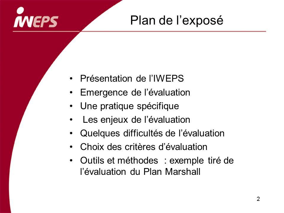 Plan de lexposé Présentation de lIWEPS Emergence de lévaluation Une pratique spécifique Les enjeux de lévaluation Quelques difficultés de lévaluation