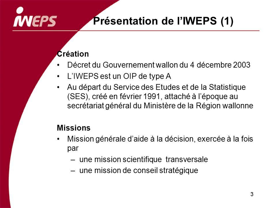 Présentation de lIWEPS (1) Création Décret du Gouvernement wallon du 4 décembre 2003 LIWEPS est un OIP de type A Au départ du Service des Etudes et de
