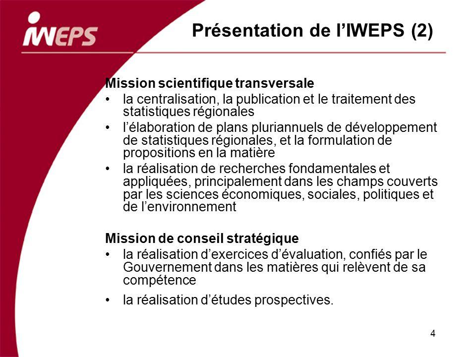 Présentation de lIWEPS (2) Mission scientifique transversale la centralisation, la publication et le traitement des statistiques régionales lélaborati