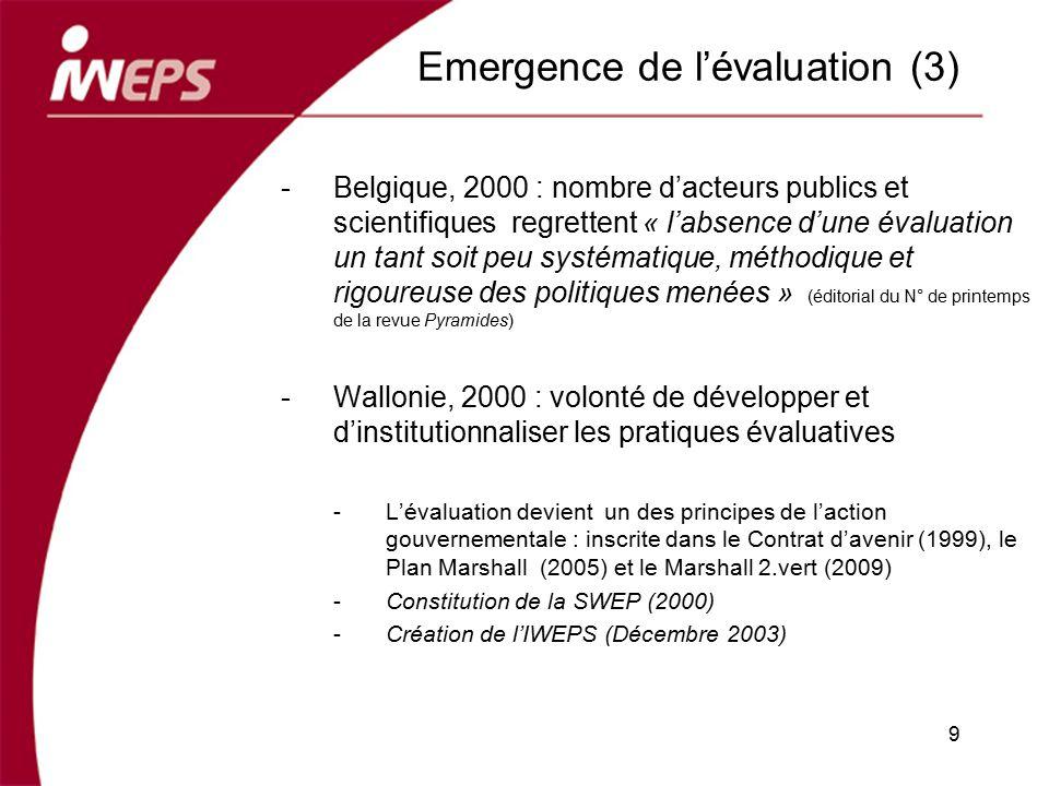Emergence de lévaluation (3) -Belgique, 2000 : nombre dacteurs publics et scientifiques regrettent « labsence dune évaluation un tant soit peu systéma