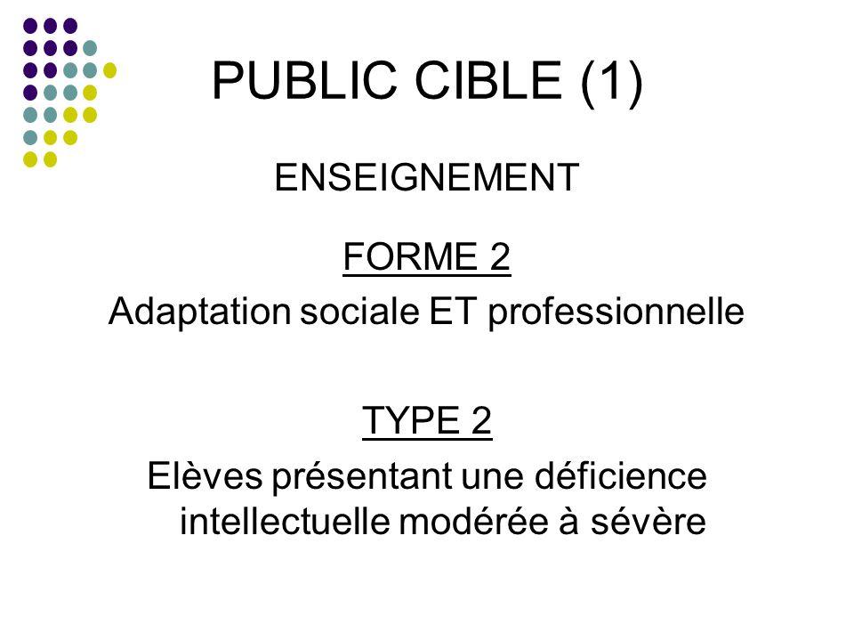 PUBLIC CIBLE (1) ENSEIGNEMENT FORME 2 Adaptation sociale ET professionnelle TYPE 2 Elèves présentant une déficience intellectuelle modérée à sévère