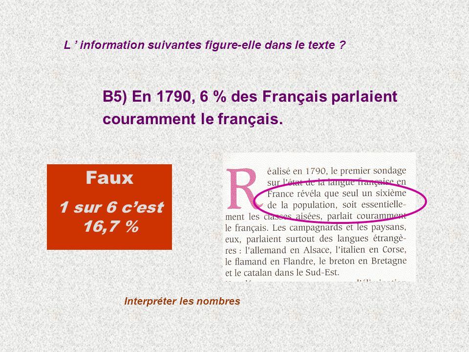 B5) En 1790, 6 % des Français parlaient couramment le français.