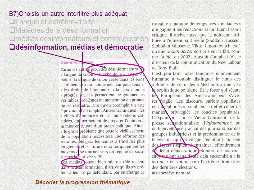 B7)Choisis un autre intertitre plus adéquat Langue et extrême-droite Maladies de la désinformation médias désinformateurs et communication désinformation, médias et démocratie.