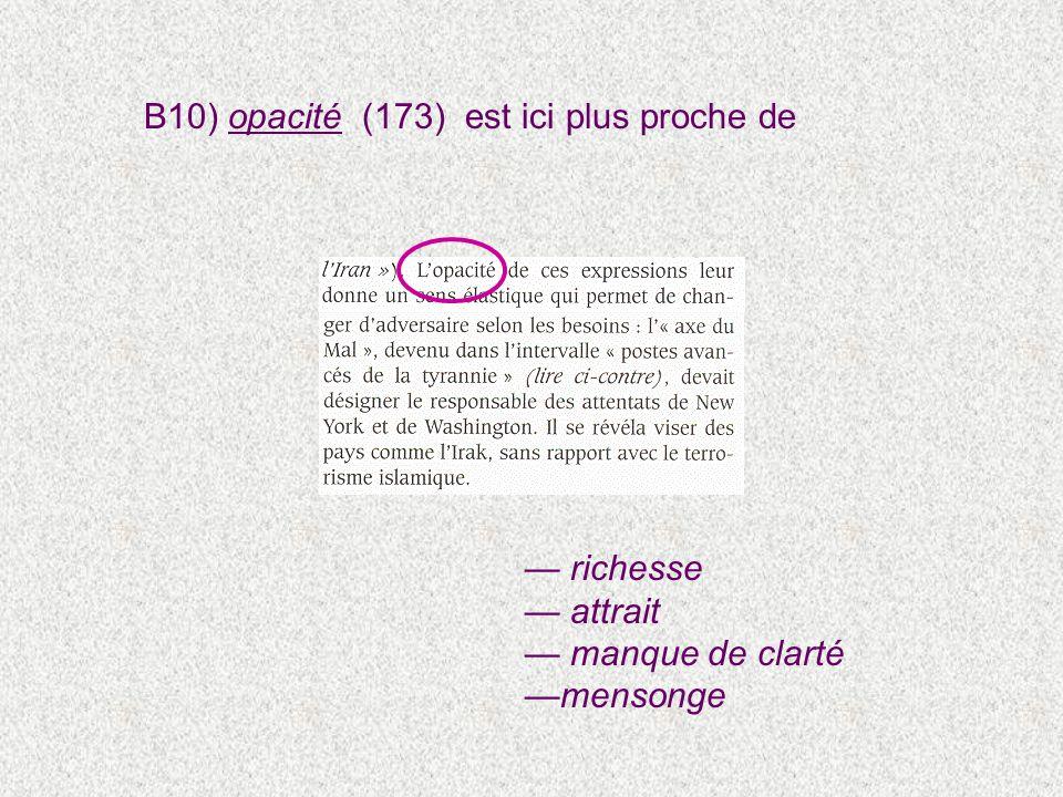 B10) opacité (173) est ici plus proche de richesse attrait manque de clarté mensonge