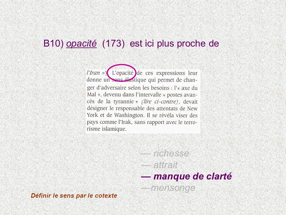 B10) opacité (173) est ici plus proche de Définir le sens par le cotexte