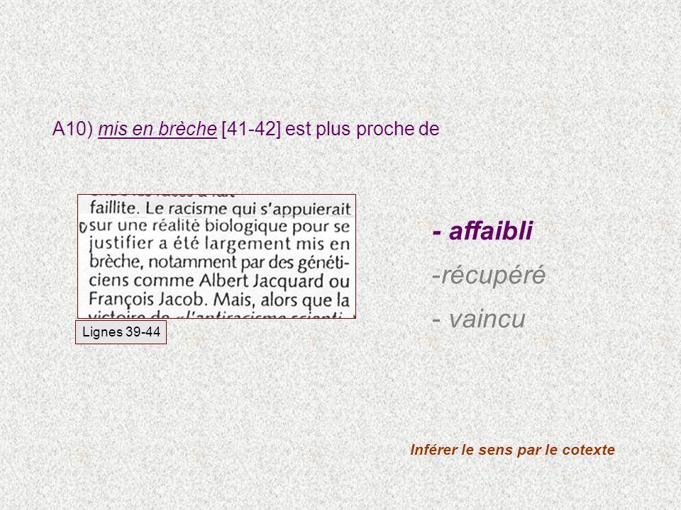 A10) mis en brèche [41-42] est plus proche de Inférer le sens par le cotexte Lignes 39-44 - affaibli -récupéré - vaincu