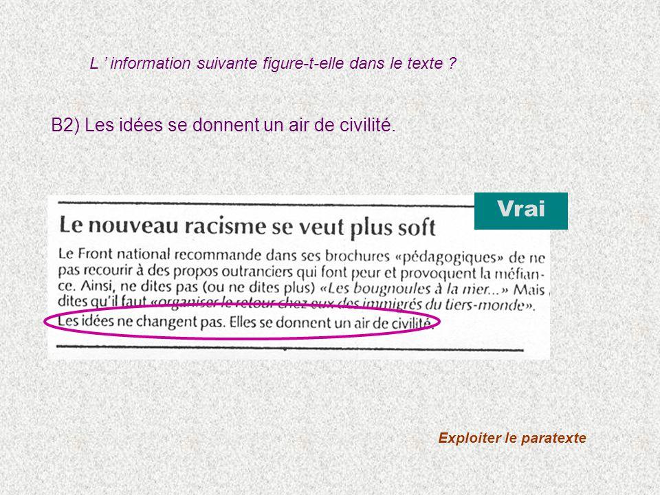 B2) Les idées se donnent un air de civilité. Vrai Exploiter le paratexte L information suivante figure-t-elle dans le texte ?
