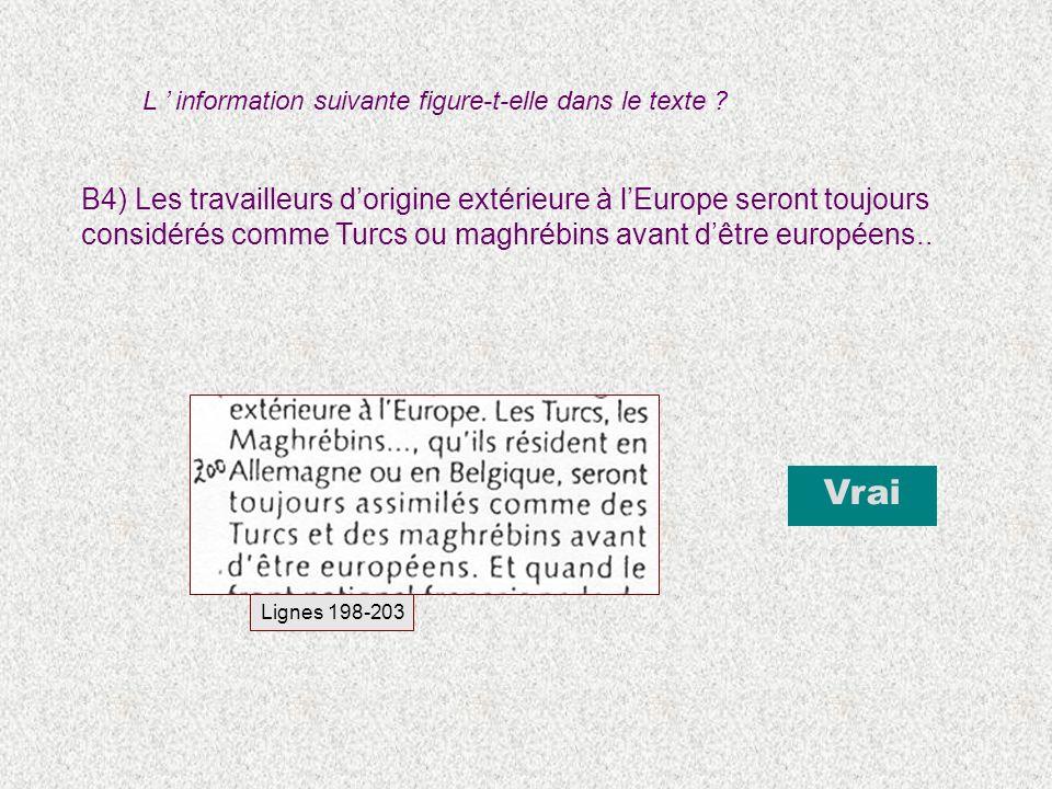 B4) Les travailleurs dorigine extérieure à lEurope seront toujours considérés comme Turcs ou maghrébins avant dêtre européens.. Lignes 198-203 Vrai L