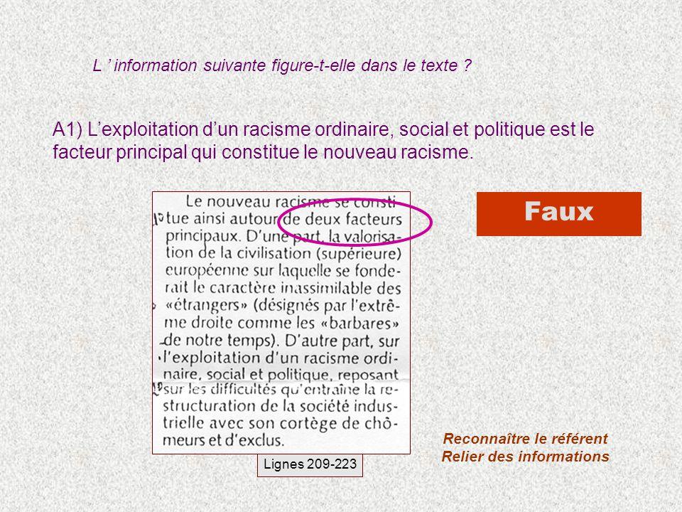 A1) Lexploitation dun racisme ordinaire, social et politique est le facteur principal qui constitue le nouveau racisme. L information suivante figure-