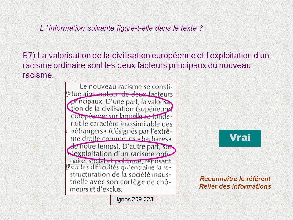 B7) La valorisation de la civilisation européenne et lexploitation dun racisme ordinaire sont les deux facteurs principaux du nouveau racisme. Vrai Re