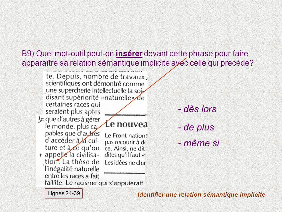 Identifier une relation sémantique implicite Lignes 24-39 B9) Quel mot-outil peut-on insérer devant cette phrase pour faire apparaître sa relation sém