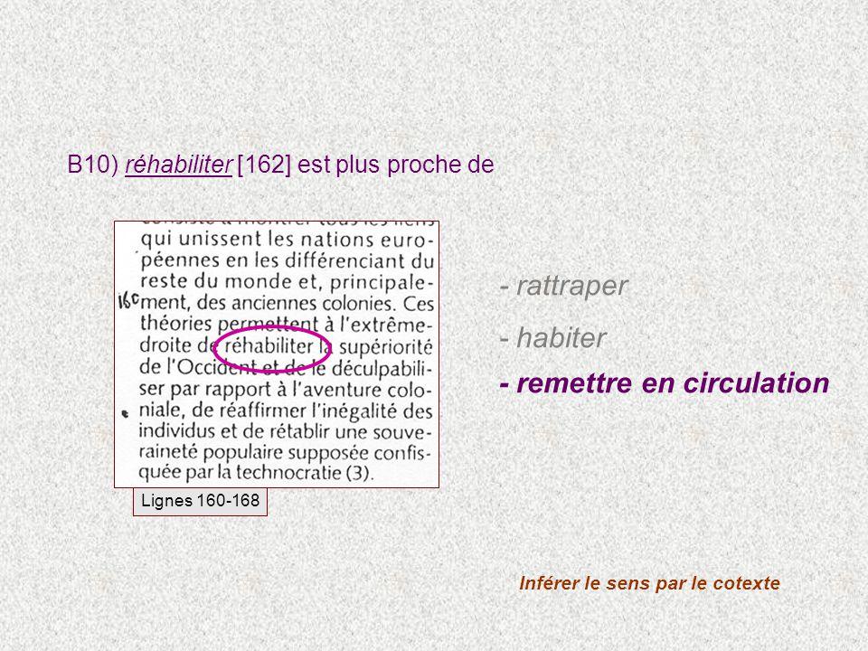 B10) réhabiliter [162] est plus proche de Inférer le sens par le cotexte Lignes 160-168 - rattraper - habiter - remettre en circulation