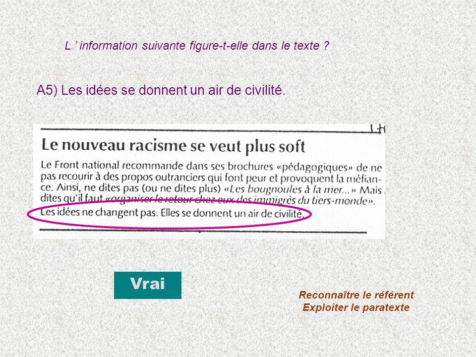 A5) Les idées se donnent un air de civilité. Vrai Reconnaître le référent Exploiter le paratexte L information suivante figure-t-elle dans le texte ?