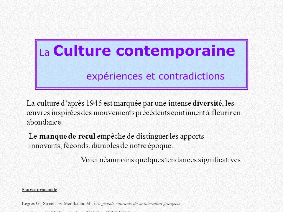 La Culture contemporaine expériences et contradictions Source principale : Legros G., Streel I. et Montballin M., Les grands courants de la littératur