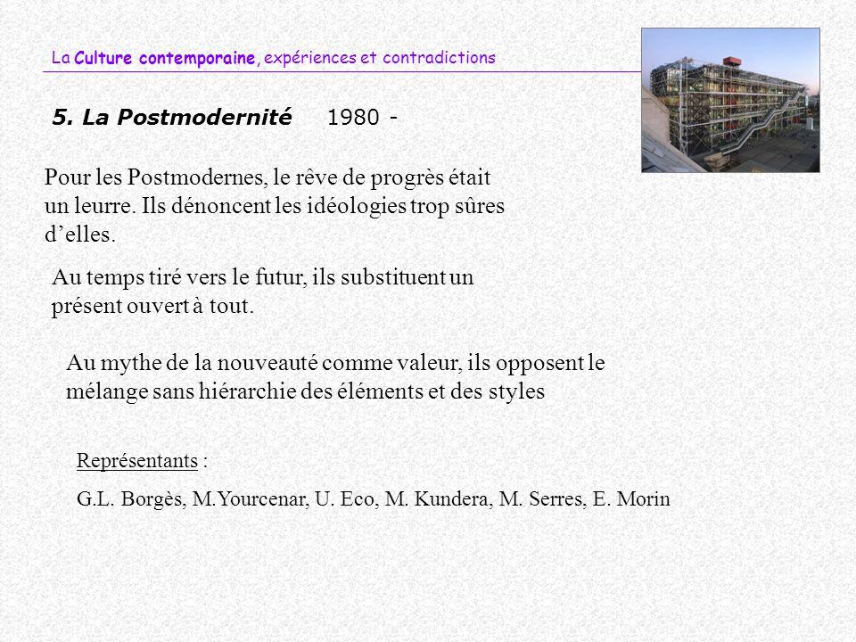 La Culture contemporaine, expériences et contradictions 5. La Postmodernité1980 - Au temps tiré vers le futur, ils substituent un présent ouvert à tou