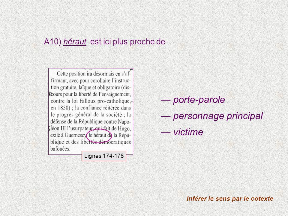 A10) héraut est ici plus proche de Inférer le sens par le cotexte porte-parole personnage principal victime Lignes 174-178