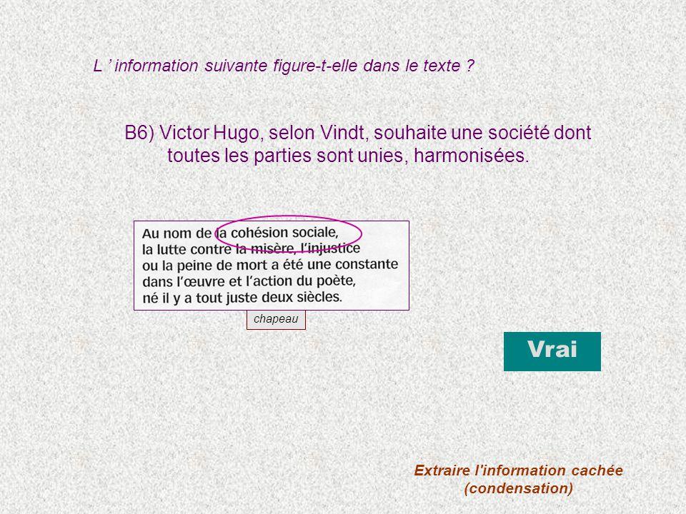 B6) Victor Hugo, selon Vindt, souhaite une société dont toutes les parties sont unies, harmonisées. L information suivante figure-t-elle dans le texte