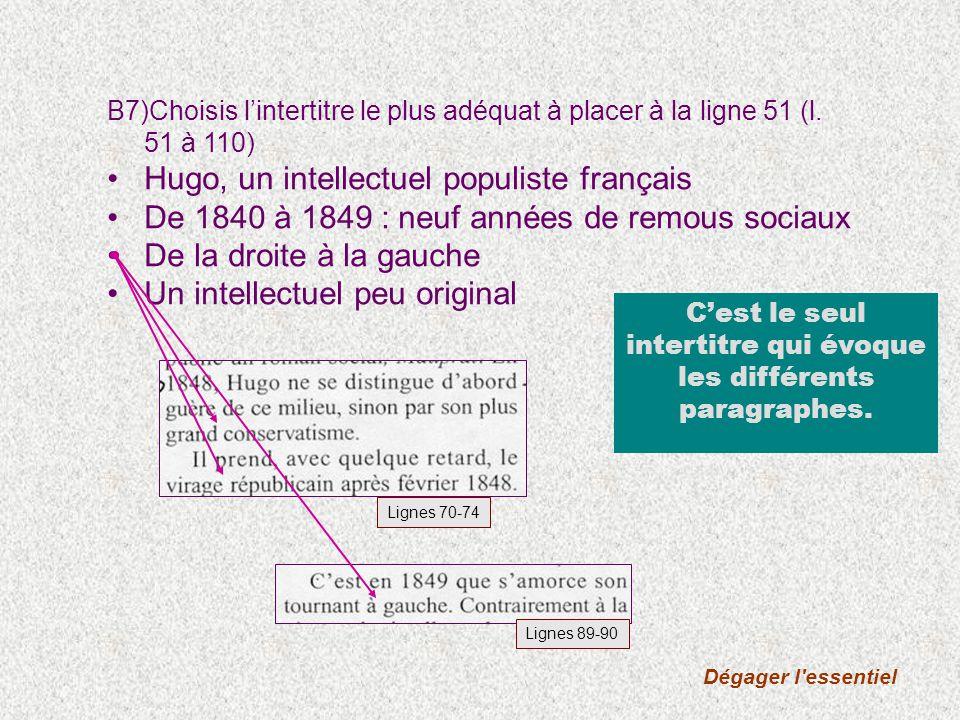 Dégager l'essentiel B7)Choisis lintertitre le plus adéquat à placer à la ligne 51 (l. 51 à 110) Hugo, un intellectuel populiste français De 1840 à 184