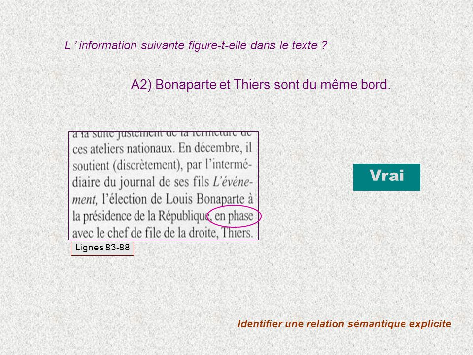 A2) Bonaparte et Thiers sont du même bord. L information suivante figure-t-elle dans le texte ? Vrai Identifier une relation sémantique explicite Lign
