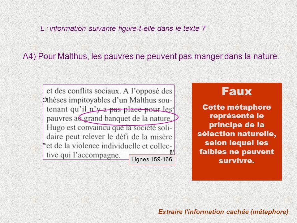 Extraire l'information cachée (métaphore) A4) Pour Malthus, les pauvres ne peuvent pas manger dans la nature. L information suivante figure-t-elle dan