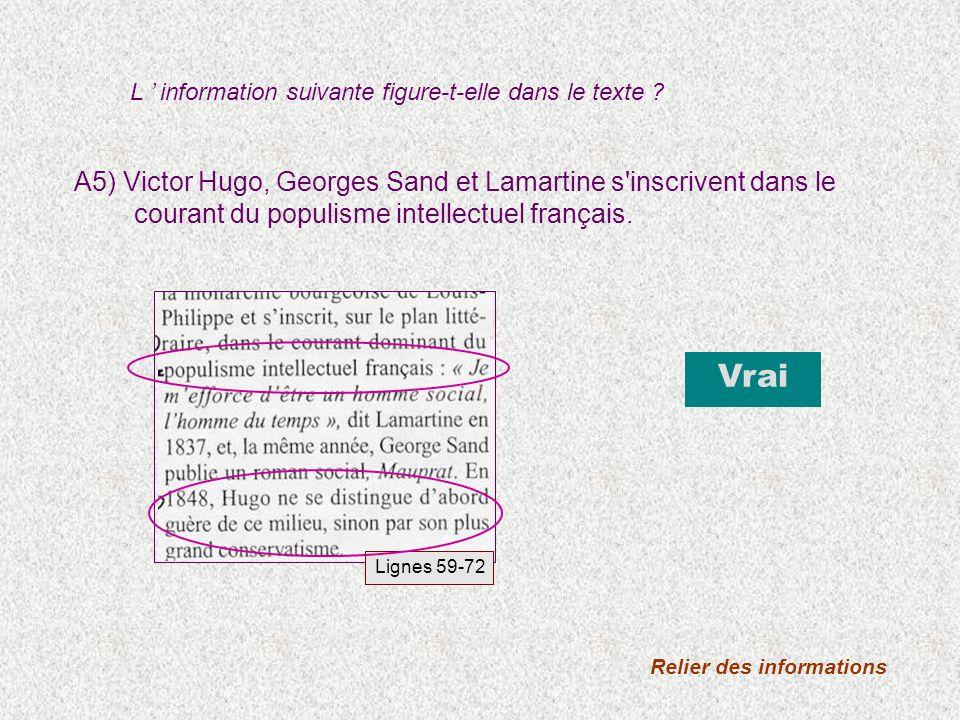 A5) Victor Hugo, Georges Sand et Lamartine s inscrivent dans le courant du populisme intellectuel français.