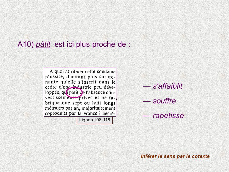 A10) pâtit est ici plus proche de : Inférer le sens par le cotexte s'affaiblit souffre rapetisse Lignes 108-116