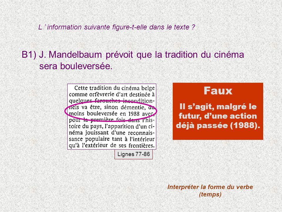 B1) J. Mandelbaum prévoit que la tradition du cinéma sera bouleversée. Faux Il sagit, malgré le futur, dune action déjà passée (1988). Lignes 77-86 In