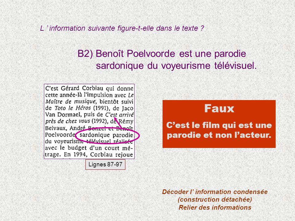 B2) Benoît Poelvoorde est une parodie sardonique du voyeurisme télévisuel. Faux Cest le film qui est une parodie et non lacteur. Lignes 87-97 Décoder