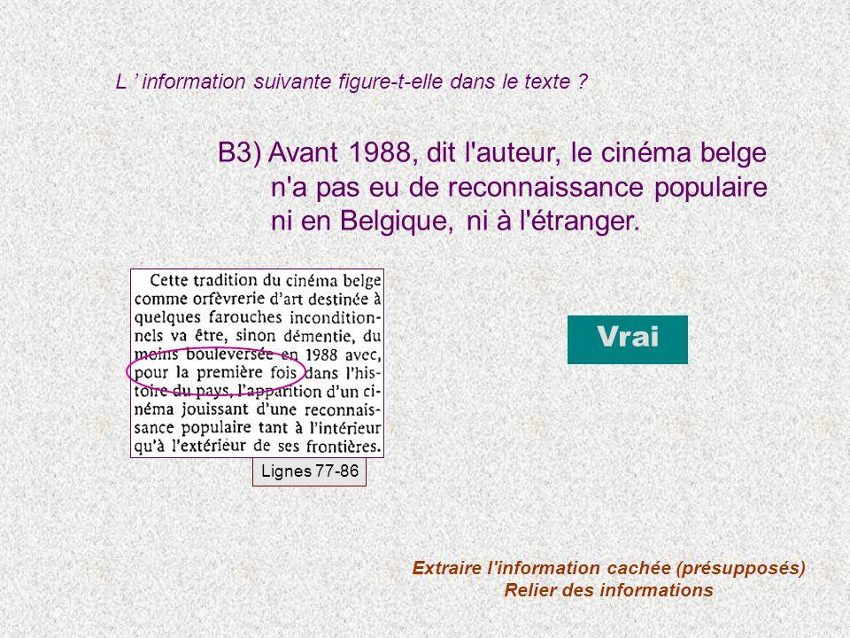 B3) Avant 1988, dit l'auteur, le cinéma belge n'a pas eu de reconnaissance populaire ni en Belgique, ni à l'étranger. Vrai Lignes 77-86 Extraire l'inf