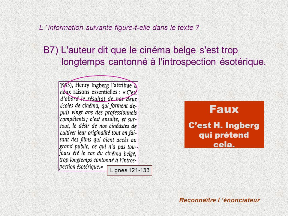 B7) L'auteur dit que le cinéma belge s'est trop longtemps cantonné à l'introspection ésotérique. Faux Cest H. Ingberg qui prétend cela. Lignes 121-133