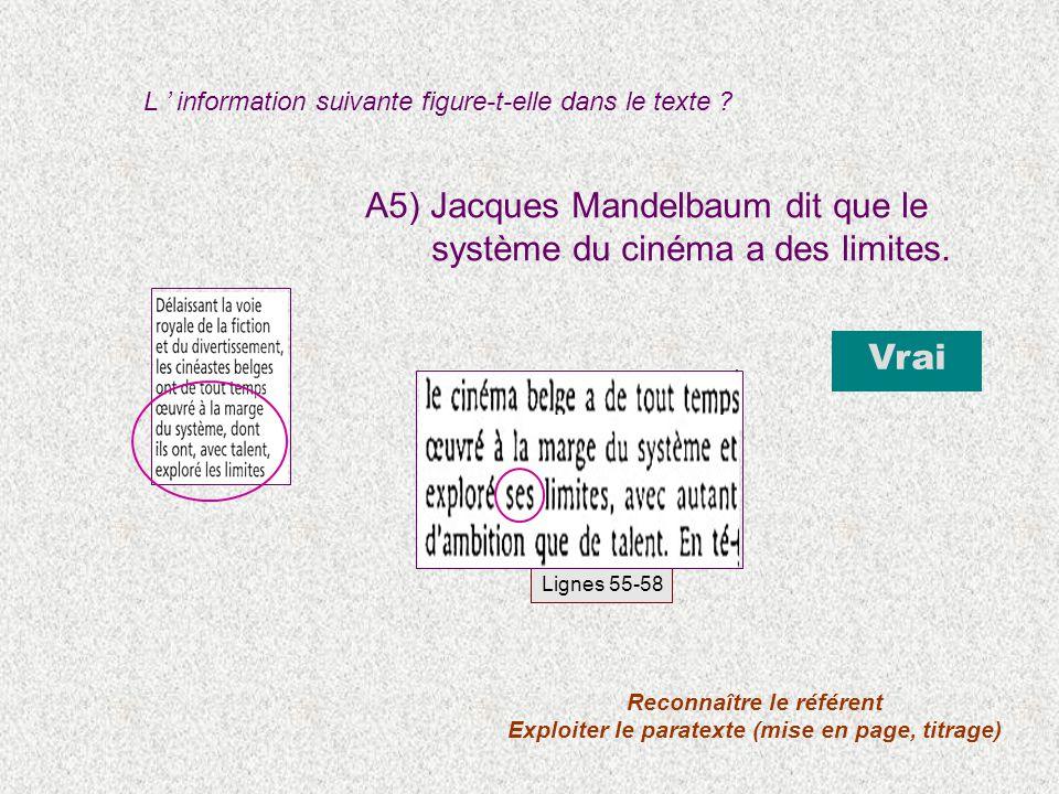 A5) Jacques Mandelbaum dit que le système du cinéma a des limites. L information suivante figure-t-elle dans le texte ? Vrai Reconnaître le référent E