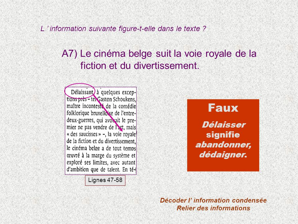 A7) Le cinéma belge suit la voie royale de la fiction et du divertissement. L information suivante figure-t-elle dans le texte ? Décoder l information