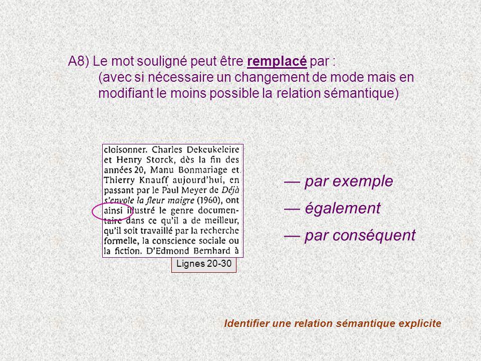Identifier une relation sémantique explicite A8) Le mot souligné peut être remplacé par : (avec si nécessaire un changement de mode mais en modifiant le moins possible la relation sémantique) par exemple également par conséquent Lignes 20-30