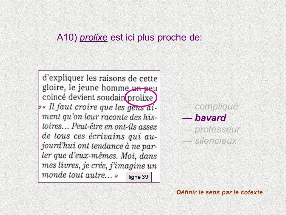 compliqué bavard professeur silencieux A10) prolixe est ici plus proche de: ligne 39 Définir le sens par le cotexte