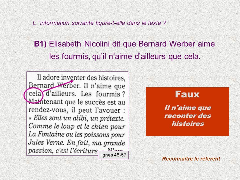 B1) Elisabeth Nicolini dit que Bernard Werber aime les fourmis, quil naime dailleurs que cela.