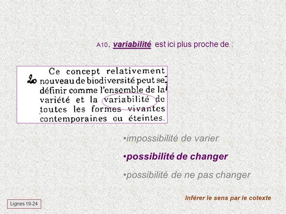 variabilité A10. variabilité est ici plus proche de : Inférer le sens par le cotexte Lignes 19-24 impossibilité de varier possibilité de changer possi